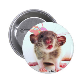 Silly Flutterby Rat Pinback Buttons