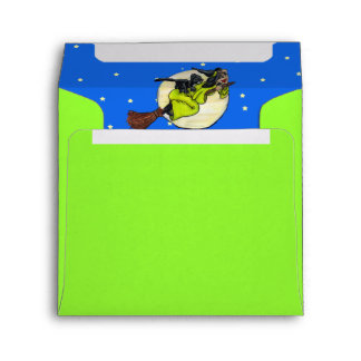Silly Flying Witch Cat Moon Stars Party Envelope