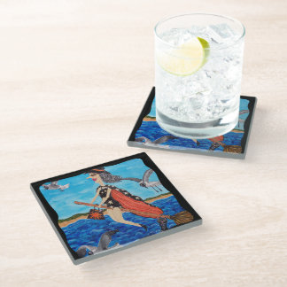 Silly Flying Witch in Bathing Suit Beach Seagulls Glass Coaster