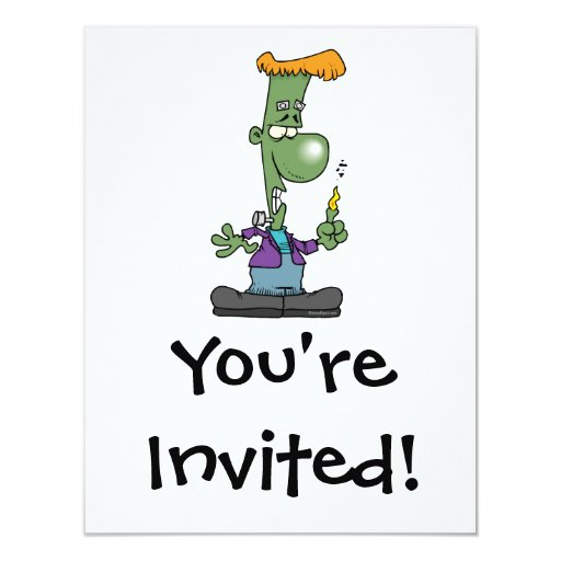 silly frankenstein halloween cartoon character invite