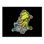 silly frog playing guitar postcard