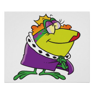 silly frog queen animal cartoon poster