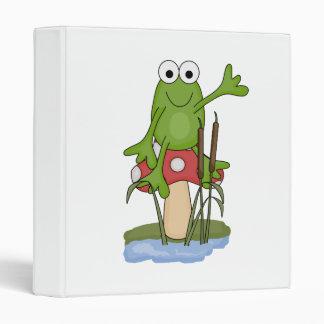 silly frog sitting on mushroom 3 ring binder