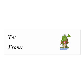 silly frog sitting on mushroom Double-Sided mini business cards (Pack of 20)