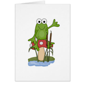 silly frog sitting on mushroom card