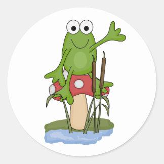 silly frog sitting on mushroom classic round sticker