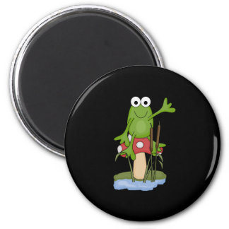 silly frog sitting on mushroom magnet
