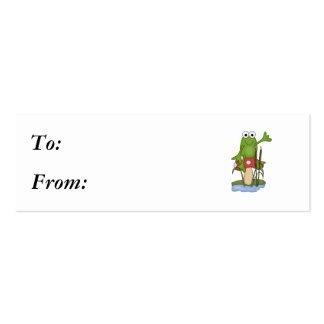 silly frog sitting on mushroom mini business card