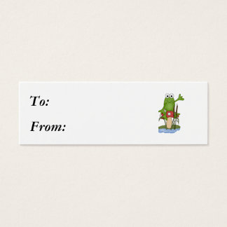 silly frog sitting on mushroom mini business card
