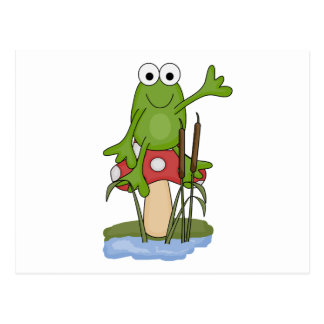 silly frog sitting on mushroom postcard