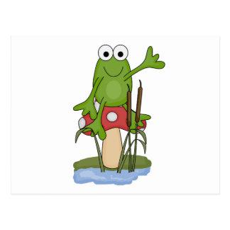 silly frog sitting on mushroom postcard