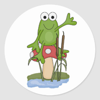 silly frog sitting on mushroom round stickers