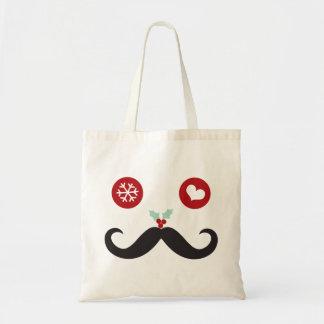 Silly Fun Cute Mustache Smiley Holiday Custom Bag