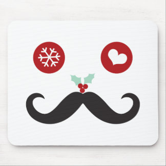 Silly Fun Cute Mustache Smiley Holiday Custom Mouse Pad