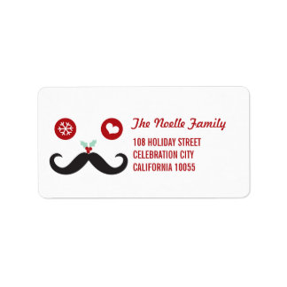Silly Fun Cute Mustache Smiley Holiday Labels