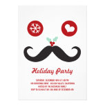 Silly Fun Cute Mustache Smiley Holiday Party Invitations