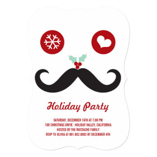 Silly Fun Cute Mustache Smiley Holiday Party 5x7 Paper Invitation Card