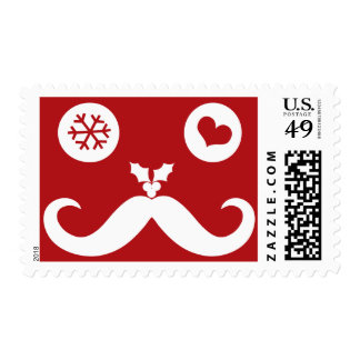 Silly Fun Moustache Smiley Face Holiday Stamps