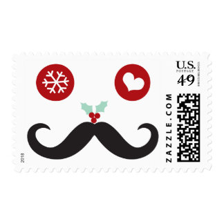 Silly Fun Mustache Smiley Face Holiday Stamps