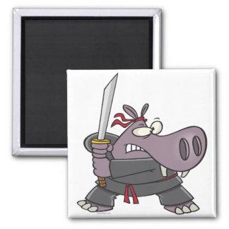 silly funny ninja hippo cartoon 2 inch square magnet