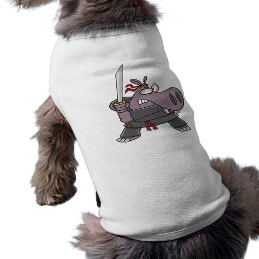 silly funny ninja hippo cartoon dog t-shirt