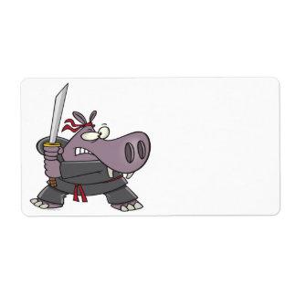 silly funny ninja hippo cartoon shipping label