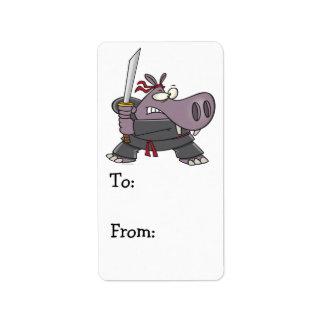 silly funny ninja hippo cartoon address label