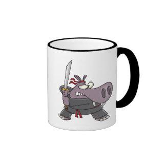 silly funny ninja hippo cartoon mugs