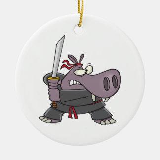 silly funny ninja hippo cartoon Double-Sided ceramic round christmas ornament