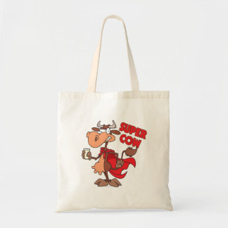 silly funny super cow cartoon character canvas bags