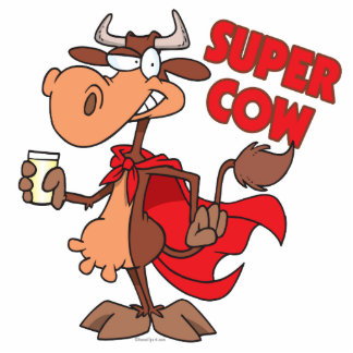silly funny super cow cartoon character acrylic cut outs