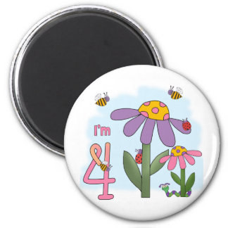 Silly Garden 4th Birthday 2 Inch Round Magnet