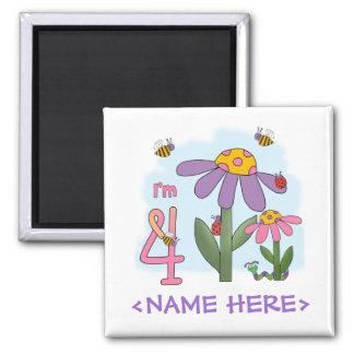 Silly Garden 4th Birthday 2 Inch Square Magnet