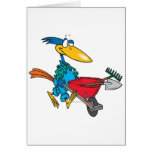 silly gardening bird with wheel barrow cards