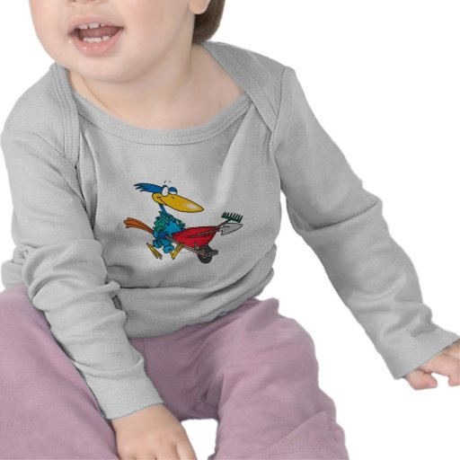 silly gardening bird with wheel barrow t-shirts
