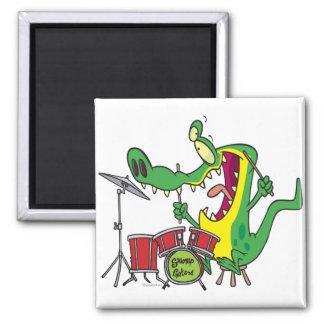 silly gator alligator drummer drumming cartoon 2 inch square magnet