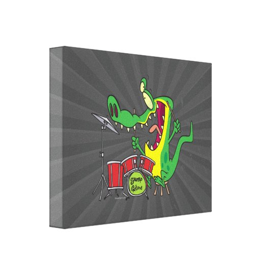 silly gator alligator drummer drumming cartoon canvas print