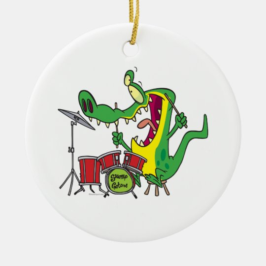 silly gator alligator drummer drumming cartoon ceramic ornament