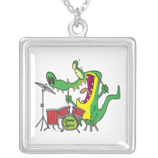 silly gator alligator drummer drumming cartoon square pendant necklace