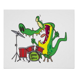 silly gator alligator drummer drumming cartoon poster