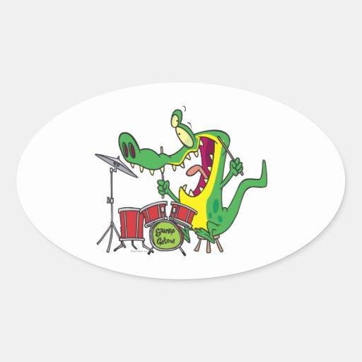 silly gator alligator drummer drumming cartoon sticker