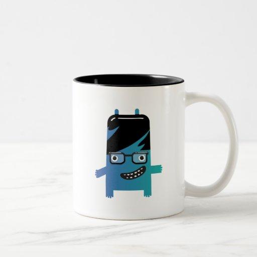 silly geek monster friend Two-Tone coffee mug
