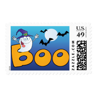 Silly ghost Boo and bats Halloween postage stamps