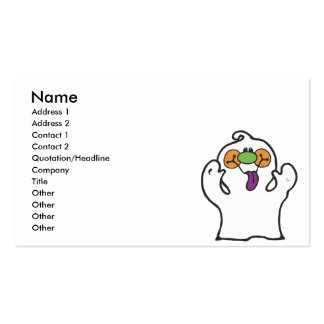 silly ghost sticking out tongue business card templates
