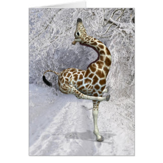 Silly Giraffe In Winter Card