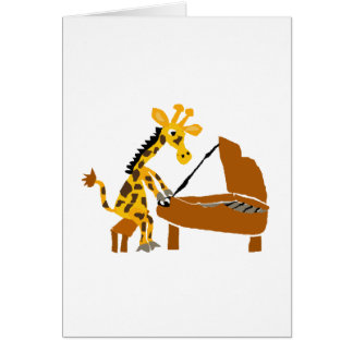 Silly Giraffe Playing the Piano Card