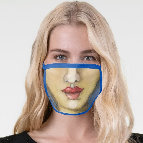 Silly Girl Face Mouth Nose Funny Humorous Painting Face Mask