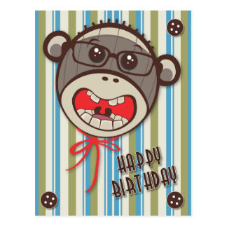 Silly Glasses Sock Monkey Happy B Day Postcard