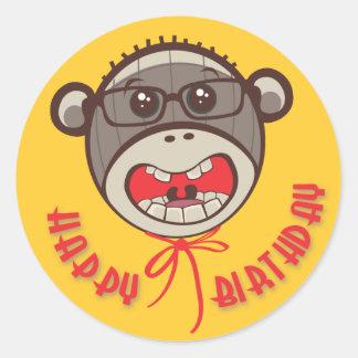 Silly Glasses Sock Monkey Happy Birthday Stickers
