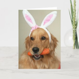 SIlly Golden Retriever dog with Easter Bunny ears Holiday Card